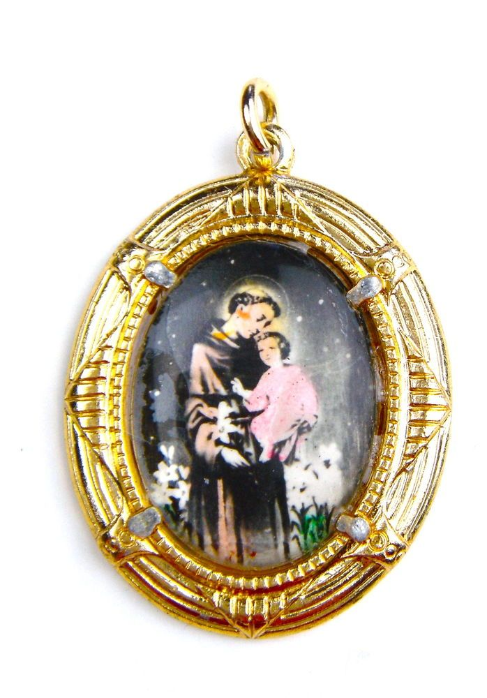 Vintage Necklace Pendant Brooch Pin Christian Saint Anthony of Padua Jesus Child #Unbranded