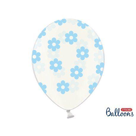 Ballonger - Klar med Blomster i Lyseblå - 6 stk