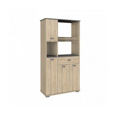 Mueble microondas aserrado con 4 puertas y 1 cajón. Estantes en color gris antracita. Medidas: 900x400x1800.