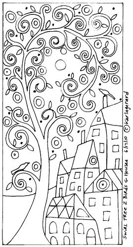 RUG HOOK PATTERN Swirl Tree 2 Birds & Houses KARLA G