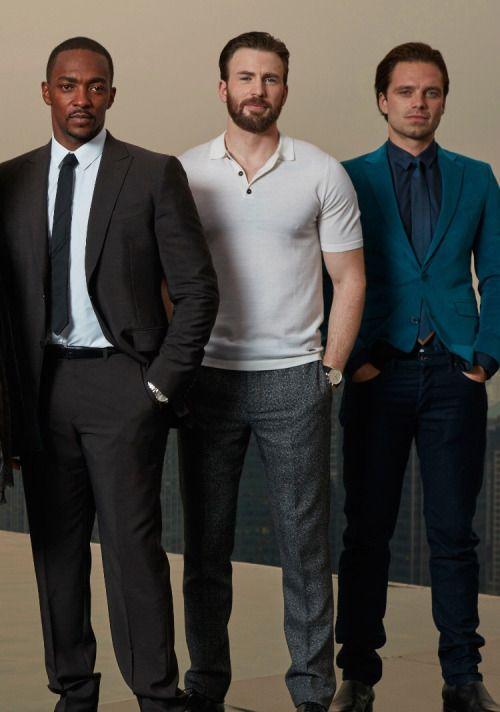 Anthony Mackie, Chris Evans, Sebastian Stan. [whoo, fans self]