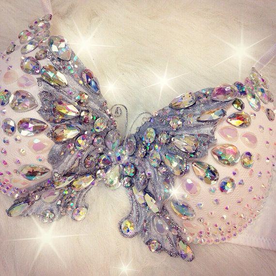 Iridescent Crystal {ButTeRFLy} Rave Bra by TheLoveShackk on Etsy