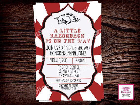 RAZORBACK BABY SHOWER Arizona Razorbacks by BlissfulBethDesigns