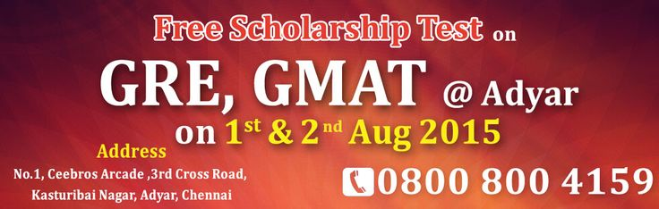 """Grab the chance, Free Scholarship test on GRE, GMAT in  Manhattan Review @ Chennai ( Adyar ) on 1st & 2nd Aug' 2015""  •	Sample Papers, Mock Test, Practice Tests and Explanations  •	Online full-length tests  •	GRE Highest 325+ scores  •	GMAT Highest 720+ scores  •	Trusted By 80000 Students •	Personalized Mentoring and Special Helpline Sessions •	One on One Personalized Learning  For Registration call: 08008004159  Visit : www.indiamr.com"