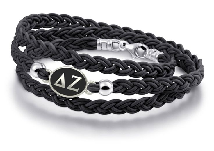 Delta Zeta Antiqued Black Leather Sorority Wrap Bracelet. 6 Strand Braided Leather Strap. Solid Sterling Silver Bracelet Top. Bracelet Pictured on Hand Intended to Show Size Only!. Each Bracelet Made to Order. High Quality, Made in the U.S.A.