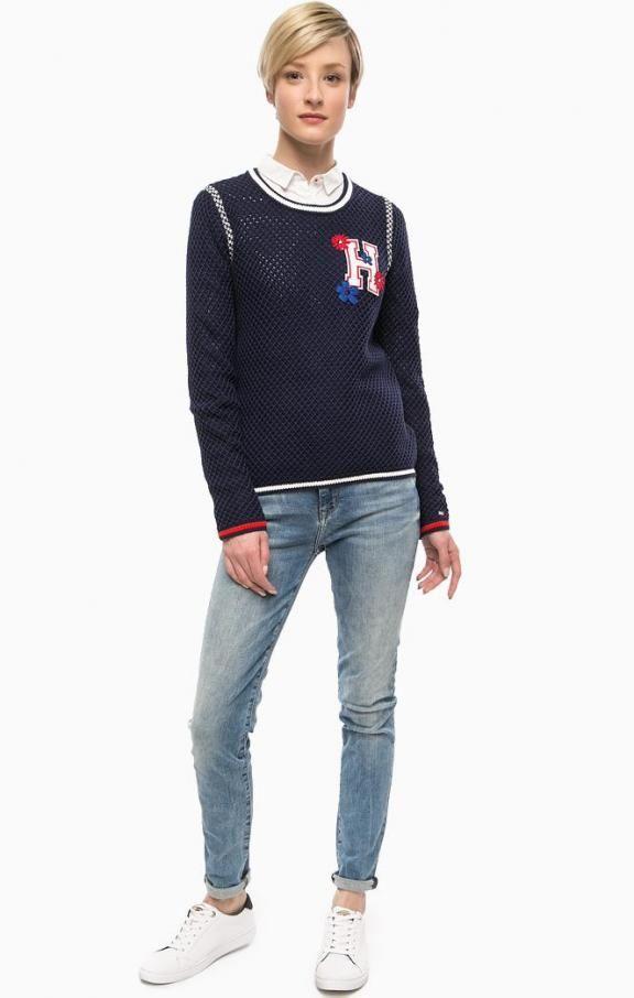 Синий хлопковый свитер с нашивками WW0WW17562 443 peacoat , купить в интернет-магазине. Цена: 12990