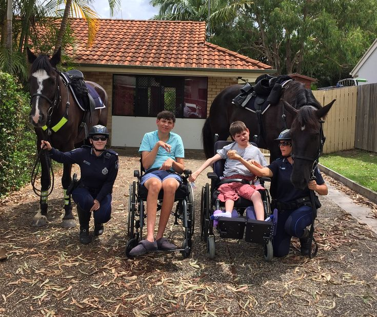 Troop horses Manny and Hercules and Mounted Police officers made some new friends whilst on deployment on the Sunshine Coast.