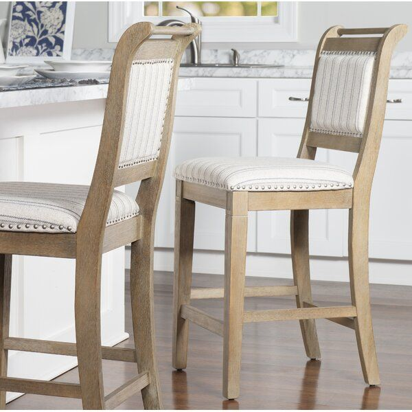 French Style And Farmhouse Design Combine To Create The Emmy 26 Bar Stool The Washed Finished Wood Is Per Bar Stools Counter Stools Counter Height Bar Stools