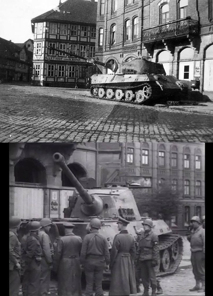 Top: One of the last Königstiger of Schwere Panzer-Abteilung 507.  Bottom: American troops inspect the King Tiger II tank in Osterode, Germany. 1945.