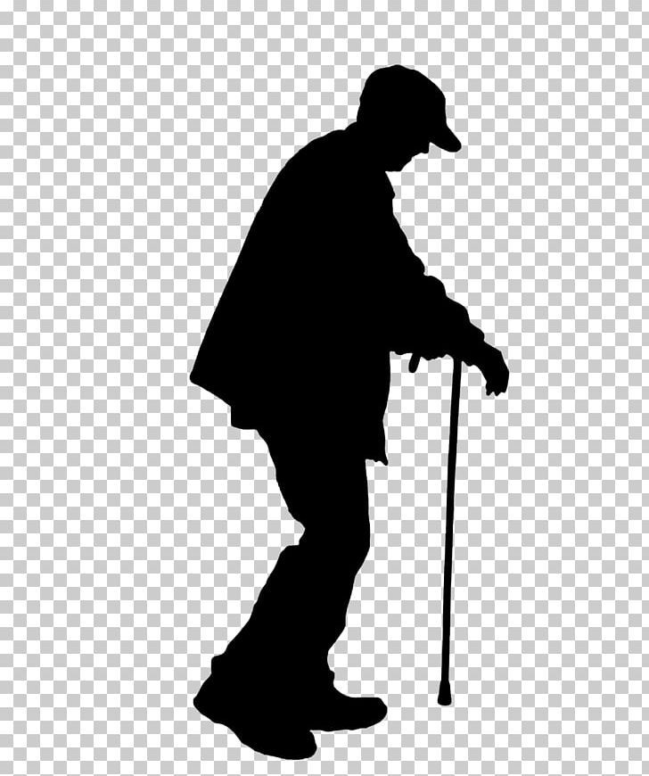 Old Age Silhouette Illustration Png Angle Black And White Crutches Elderly Gentleman Silhouette Illustration Silhouette Illustration