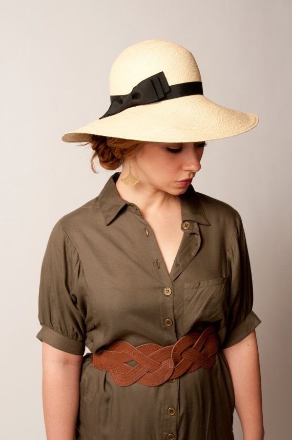 Panama Sun Hat  Natural Straw with Black Trim  by fannyandjune, $212.00