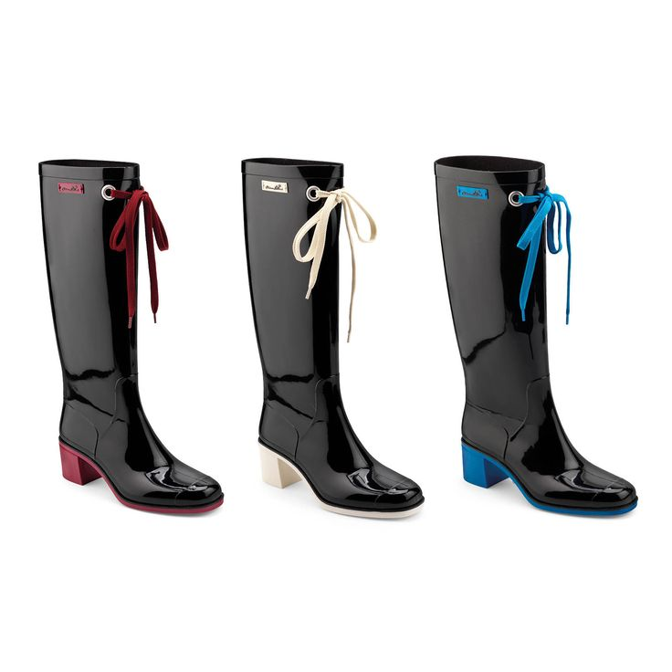 Wellington boots with colour heel and lace