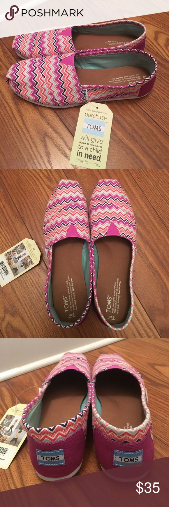 Brand New Pink Chevron Toms Slip Ons Brand new pair of toms in a cute multi-color Chevron pattern. I'm not sure how this happened but the right shoe has a Men's size 9 insert and the left shoe has the standard women's insert. Personally there isn't any difference when wearing them and the men's one is a little big for the shoe but it's not noticeable. Anyways selling them for less because of it. TOMS Shoes