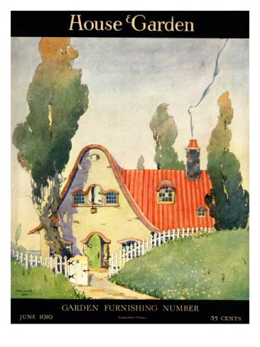 June 1919 House & Garden. The watercolor is by Maurice Day.: June 1919, Art Prints, 1919 Regular, American Vintage, House Gardens, Magazines Covers, Art Deco, 1919 House, Gardens Covers