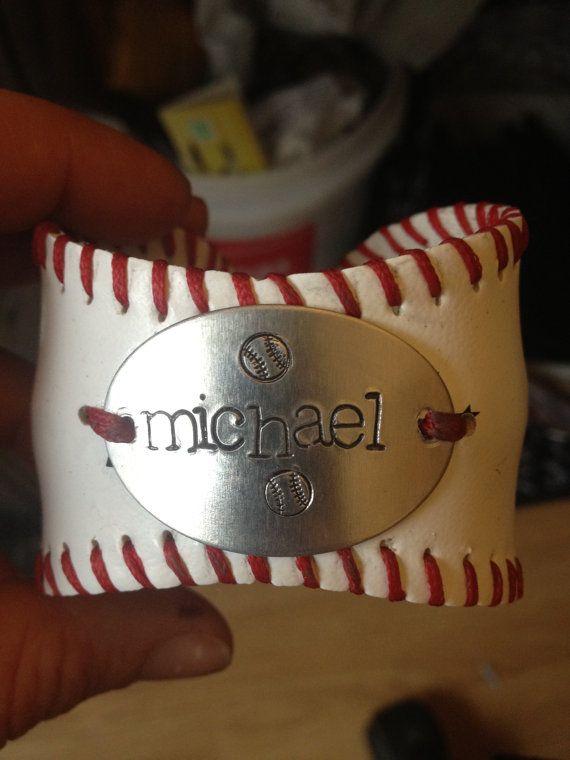 Baseball Bracelet with Handstamp of child's name