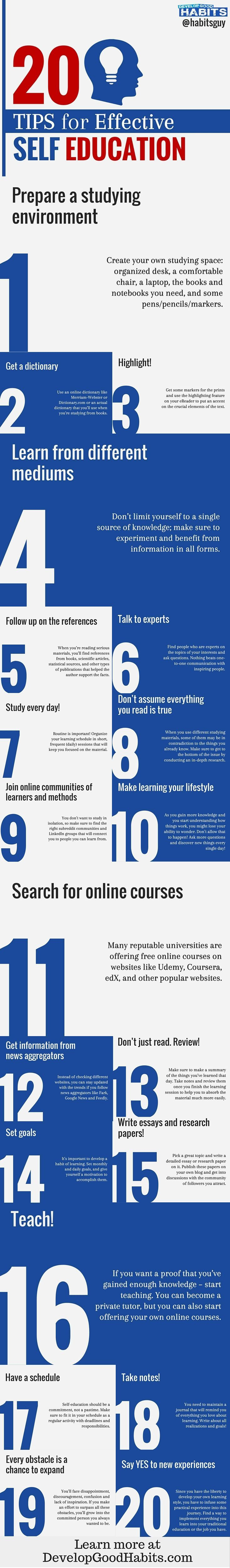 Tips for continuing your self education. Regardless of age! These days self education and growth is a lifelong habit. See some simple tips for getting the most out of time and ongoing education.