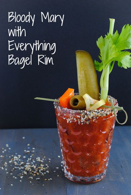 Bloody Mary with Everything Bagel Rim - A homemade version of the classic brunch cocktail, rimmed with everything bagel seasoning mix! #BrunchWeek