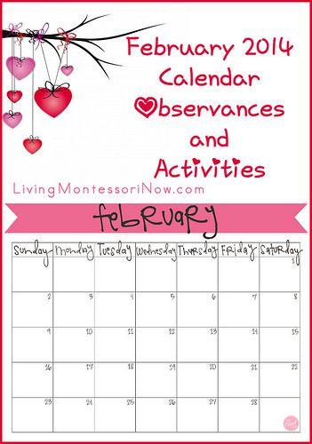 February 2014 Calendar Observances and Activities