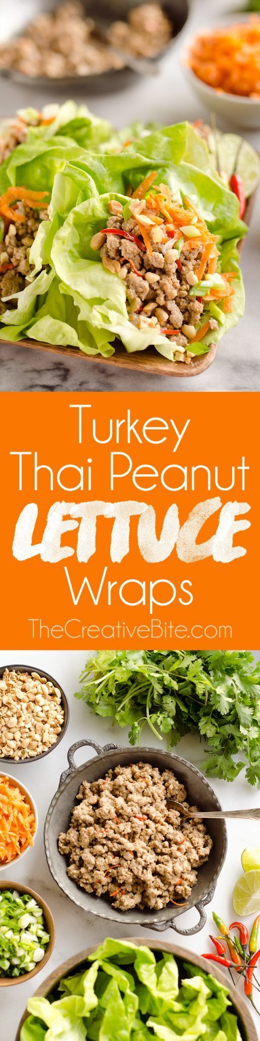 Turkey Thai Peanut Lettuce Wraps are a light and healthy dinner idea packed with filling ground turkey, fresh vegetables and crunch peanuts. You will make this easy 15 minute recipe over and over because it is just so easy and delicious! #Light #Healthy #Turkey