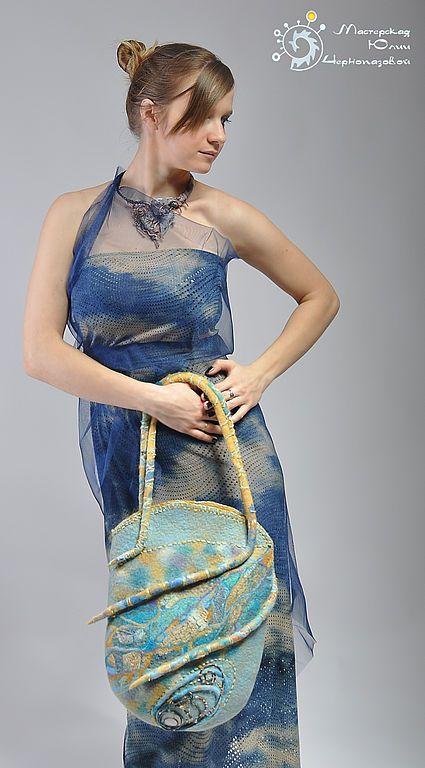 """Купить """"Чертог Светлейшего Хеймдалля"""" сумка - бирюзовый, песочный, скандинавия, валяная сумка, авторская сумка"""