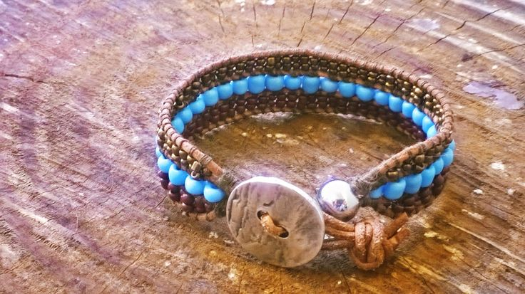 Women Handmade Bracelet with Brown, Light Blue and Gold Beads. Leather 3 rows Bracelet. by Bohemicin on Etsy