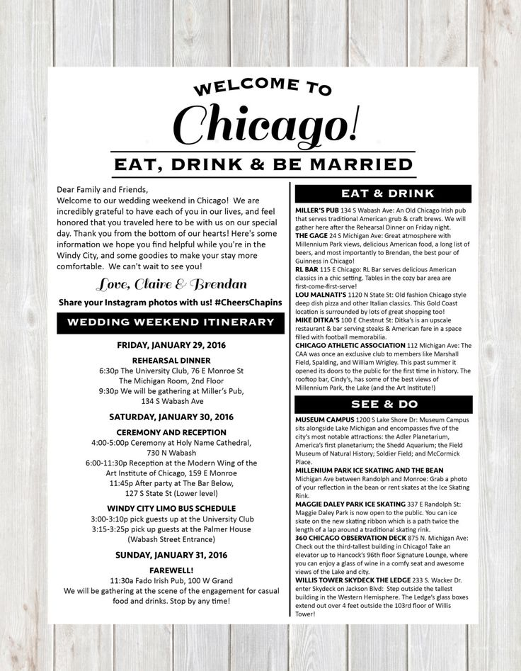 Welcome Letter, Wedding Welcome Letter, Hotel Welcome Letter, Wedding Weekend Itinerary, Destination Wedding Welcome Letter, Chicago Wedding by DesignandPop on Etsy https://www.etsy.com/listing/264061405/welcome-letter-wedding-welcome-letter