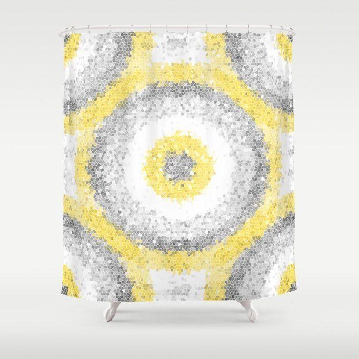 Geometrische Duschvorhang Badezimmer Dekor Bad Vorhang Gelb