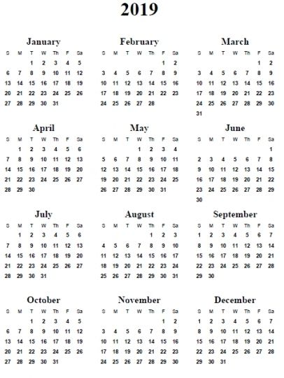 2019 Calendar Word | Monthly Calendar Templates ...