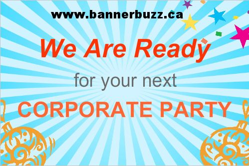 Corporate Party Banner Online now in Canada. Personalize party banner for your corporate party in Canada from www.bannerbuzz.ca