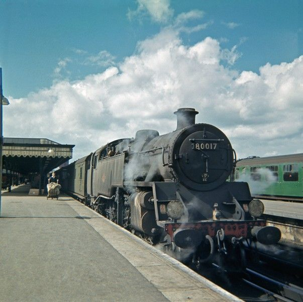 A sunny summers afternoon in August 1963 sees BR Standard Class 4 Tank No. 80017 waiting to leave Reading Southern Terminus with a train for Tonbridge.