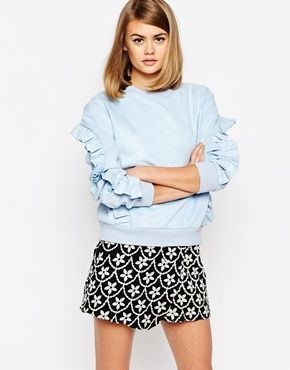 Sister Jane Topaz Volante Oversized Crew Neck Sweatshirt With Ruffle Detail