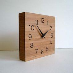 Modern clock, wooden box, wall or desktop clock, simple design, square clock …