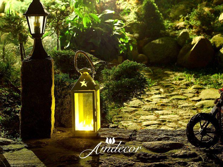 Lanterns at night in a charming garden. Lampion nocą w ogrodzie.