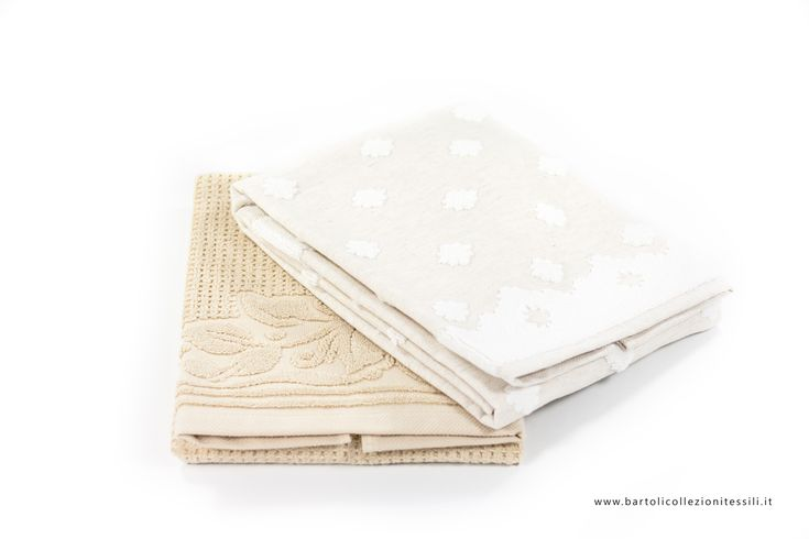 Cottton towels #white #beige - Set asciugamani in cotone