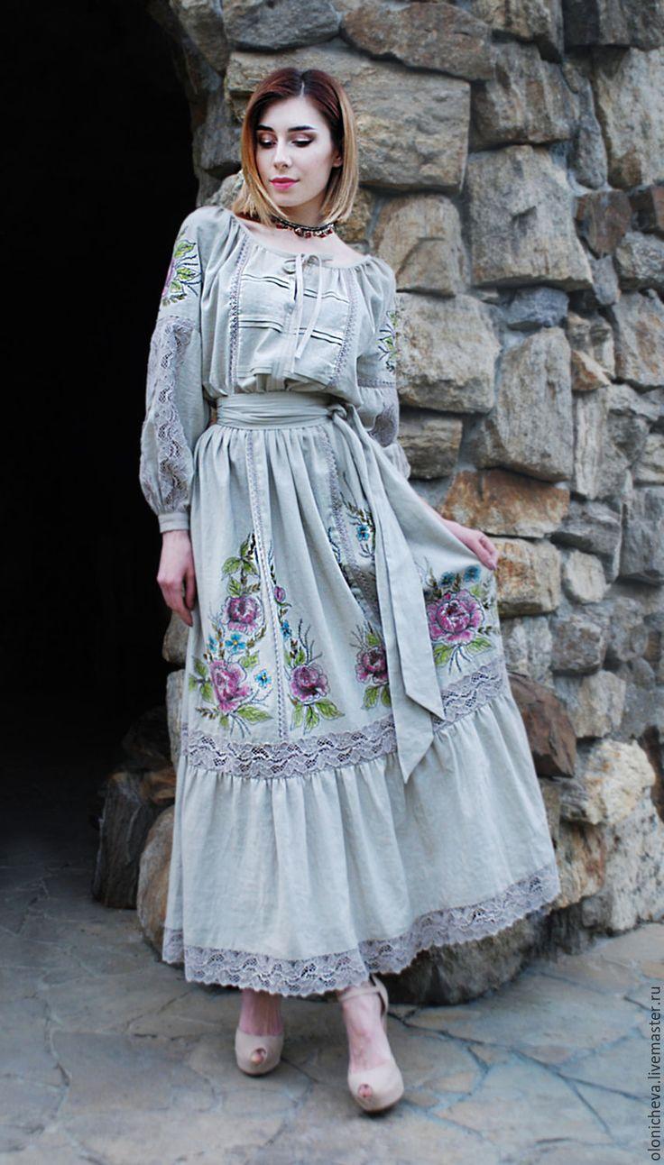"""Купить Льняное вышитое платье """"Винтажные розы"""" длинное платье лен - рисунок, льняное платье"""