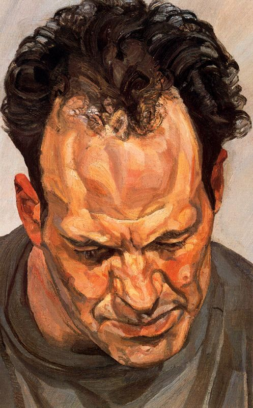 It's in this period that Freud's brushstrokes become increasingly forceful, and the volume of paint on the canvas increases, so that it seems to almost shape the contours of skin or hair . In the portrait of the artist Frank Auerbach, his powerful forehead dominates the canvas. The two men had been friends since the mid-1950s, were great admirers of each other's work and saw each other frequently. It was at the time he made this portrait that Freud began to use Cremnitz white, a dry…