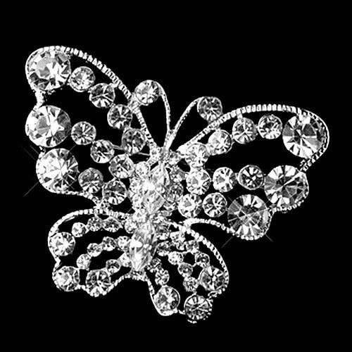 2 Inch Clear CZ Rhinestone Crystal Diamante Vintage Butterfly Bridal Brooches and Pins Gift