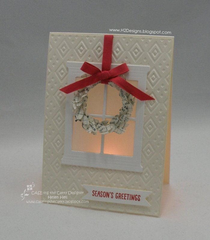 H2 Designs: CASE-ing the Catty #47 - Let's Kit Together! Wreath made from the bough on the Bird Builder Punch.