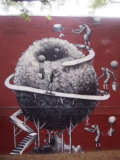Best Phlegm Street Artist Images On Pinterest Street - Awesome mechanical shark mural phlegm