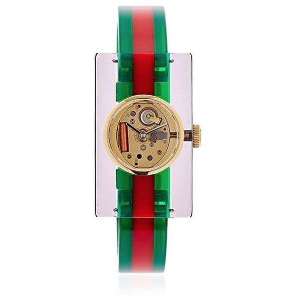 Gucci Women Vintage Web Plexiglass Watch (15.020.305 VND) ❤ liked on Polyvore featuring jewelry, watches, see through watches, red watches, rectangle watches, vintage jewelry and gucci watches