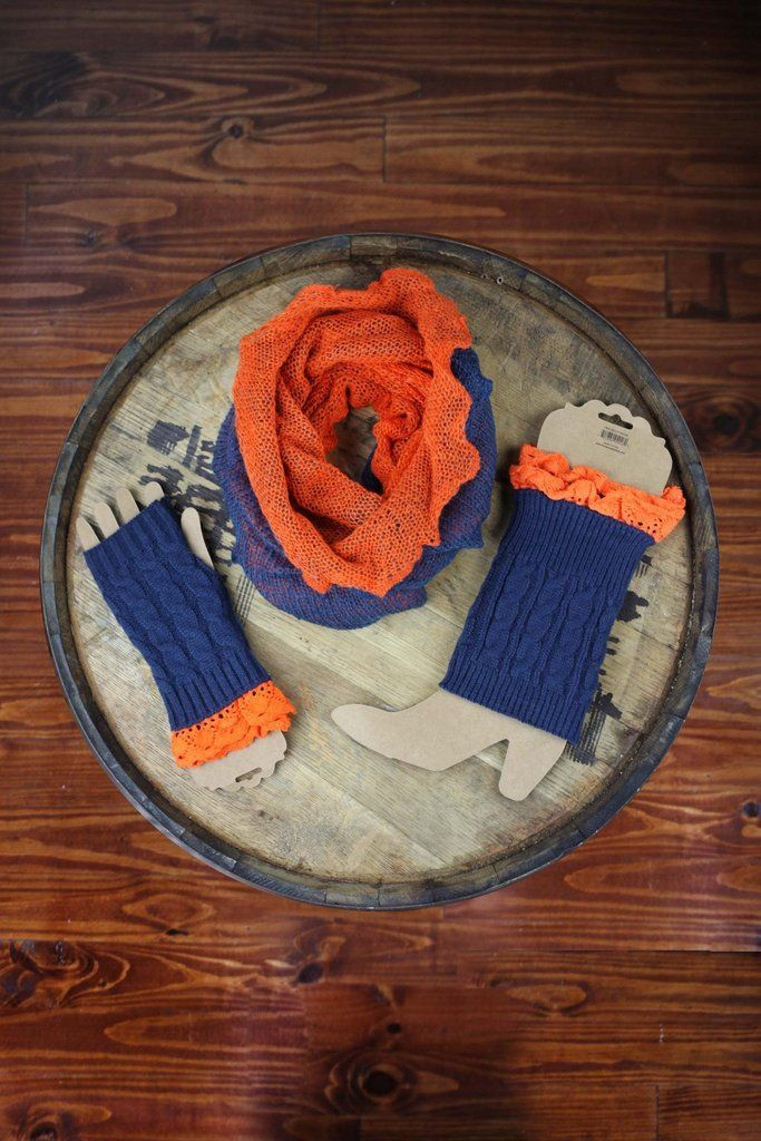 Auburn Orange & Navy Game Day Scarf, Boot Cuff & Gloves Bundle
