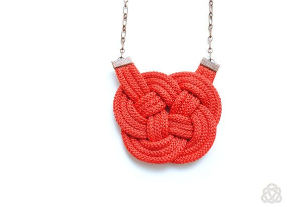 Red Knot Cord Necklace Knotted Rope Jewelry Chunky by elfinadesign