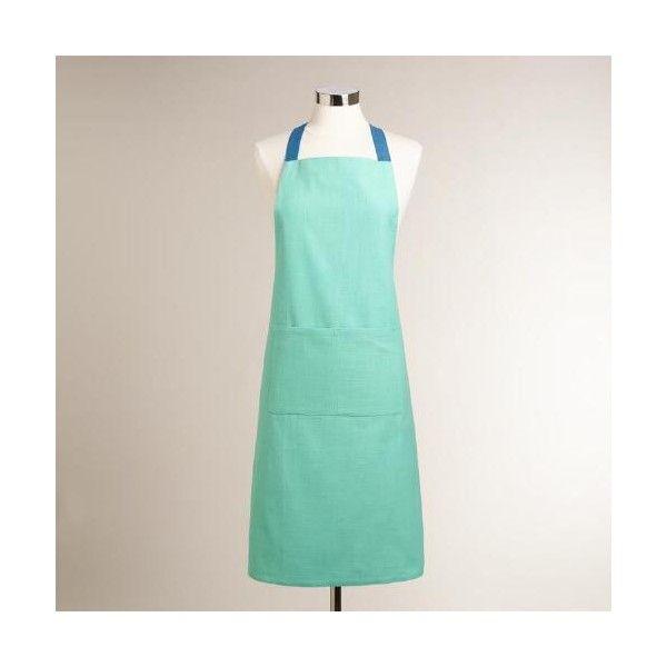 Cost Plus World Market Aqua Cotton Slub Apron ($15) ❤ liked on Polyvore featuring home, kitchen & dining, aprons, blue, cost plus world market, pocket apron, blue apron, cotton apron and cook apron