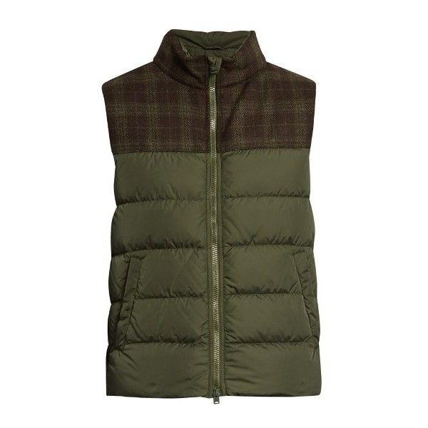 Herno Polar Tech quilted-down gilet ($395) ❤ liked on Polyvore featuring men's fashion, men's clothing, men's outerwear, men's vests, green, mens down vest, mens quilted vest, mens slim fit vest, mens green vest and mens plaid vest
