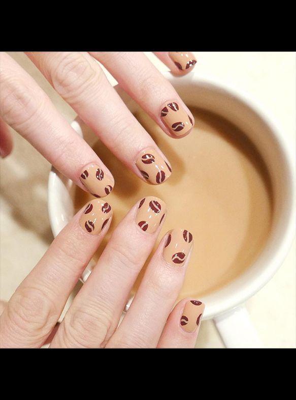 Fall's best nail art. #coffeebeans