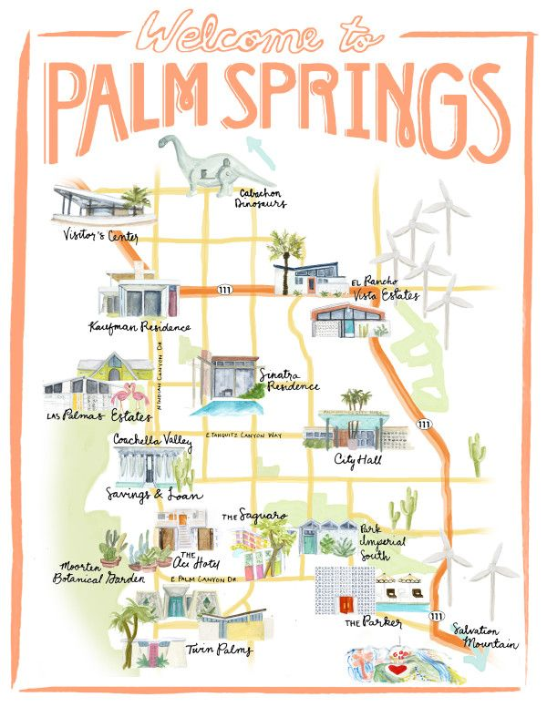 Palm Springs map available on Etsy | stripedcatstudio.com/shop