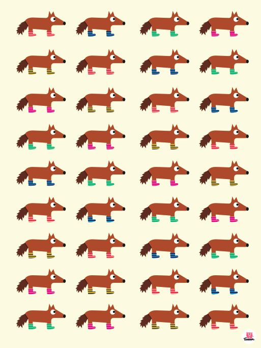 Affiche retro chambre d'enfant, les petits loups de Boum badaboum.  Disponible sur www.boum-badaboum.fr