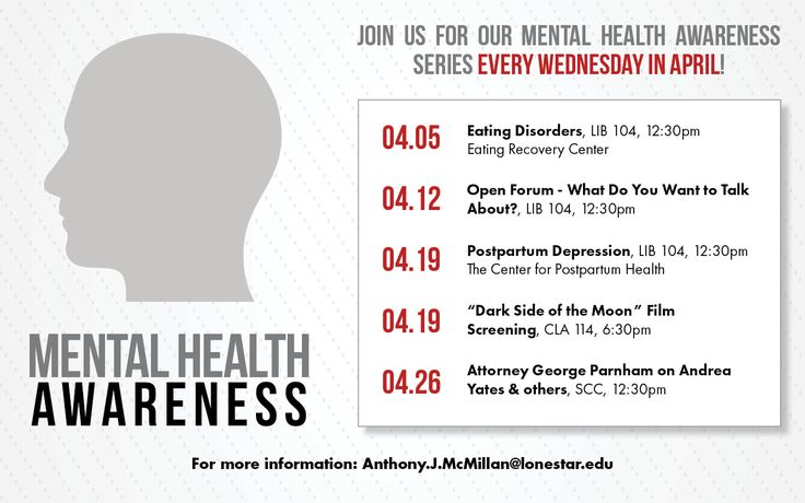 Join us for our mental health awareness series every Wednesday in April. Open Forum - What Do You Want to Talk About? 4/12, LIB 104, 12:30pm at #LSCKingwood #StartCloseGoFar