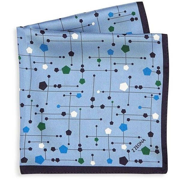 Z Zegna Men's Geometric Printed Silk Pocket Square - Blue (131 CAD) ❤ liked on Polyvore featuring men's fashion, men's accessories, handkerchiefs, apparel & accessories, blue, mens handkerchiefs and mens silk handkerchief