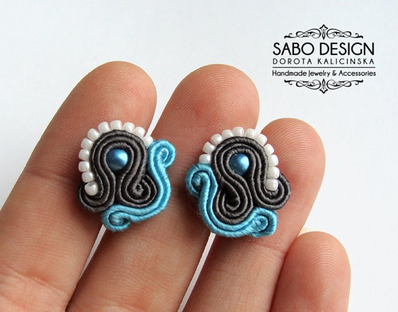 Soutache stud earrings handmade post earrings by SaboDesign.